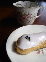 violet eclair and tea