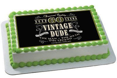Vintage Dude 60th Edible Birthday Cake Topper OR Cupcake Topper, Decor