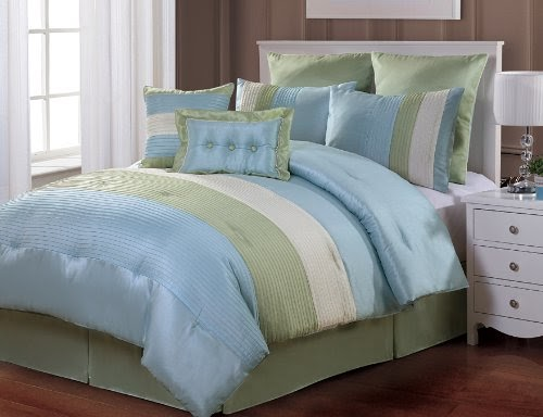 8 Pc Modern Blue Green White Bed In A Bag Comforter