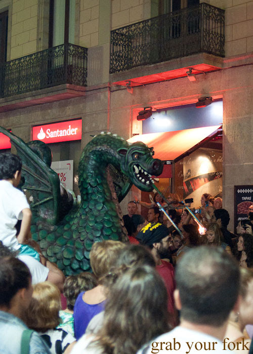 La Merce 2013 Parade of Fire Breathing Dragons large dragon