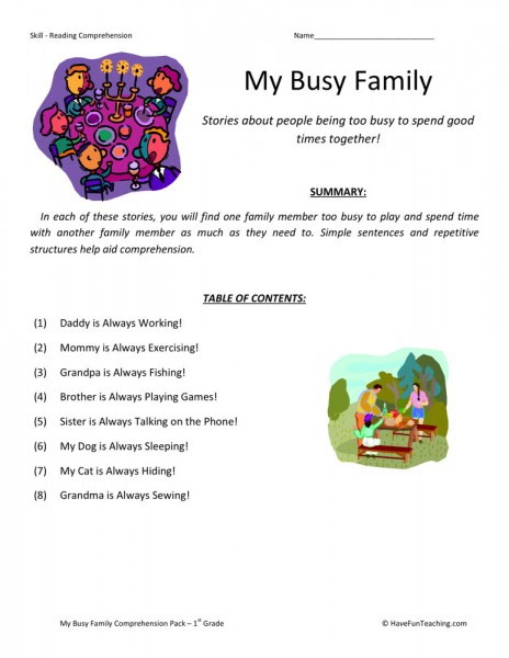 Reading Prehension Worksheet My Busy Family