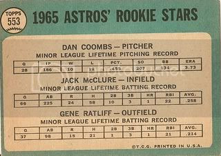 #553 Astros Rookies: Dan Coombs, Jack McClure, Gene Ratliff (back)
