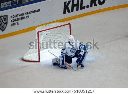PODOLSK - OCTOBER 30, 2016: Ben Scrivens (30) disappointed on hockey game Vityaz vs Dynamo Minsk on Russia KHL championship on October 30, 2016, in Podolsk, Russia. Vityaz won 9:6