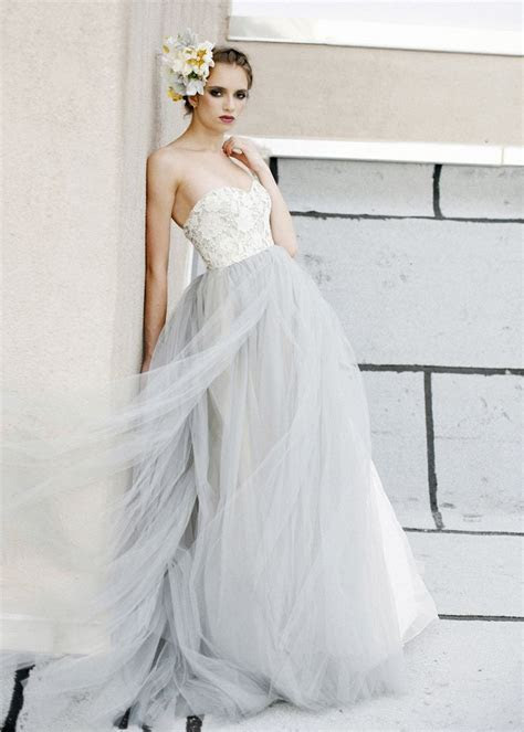 A line Sweetheart Neckline Grey Lace Tulle Prom Dress