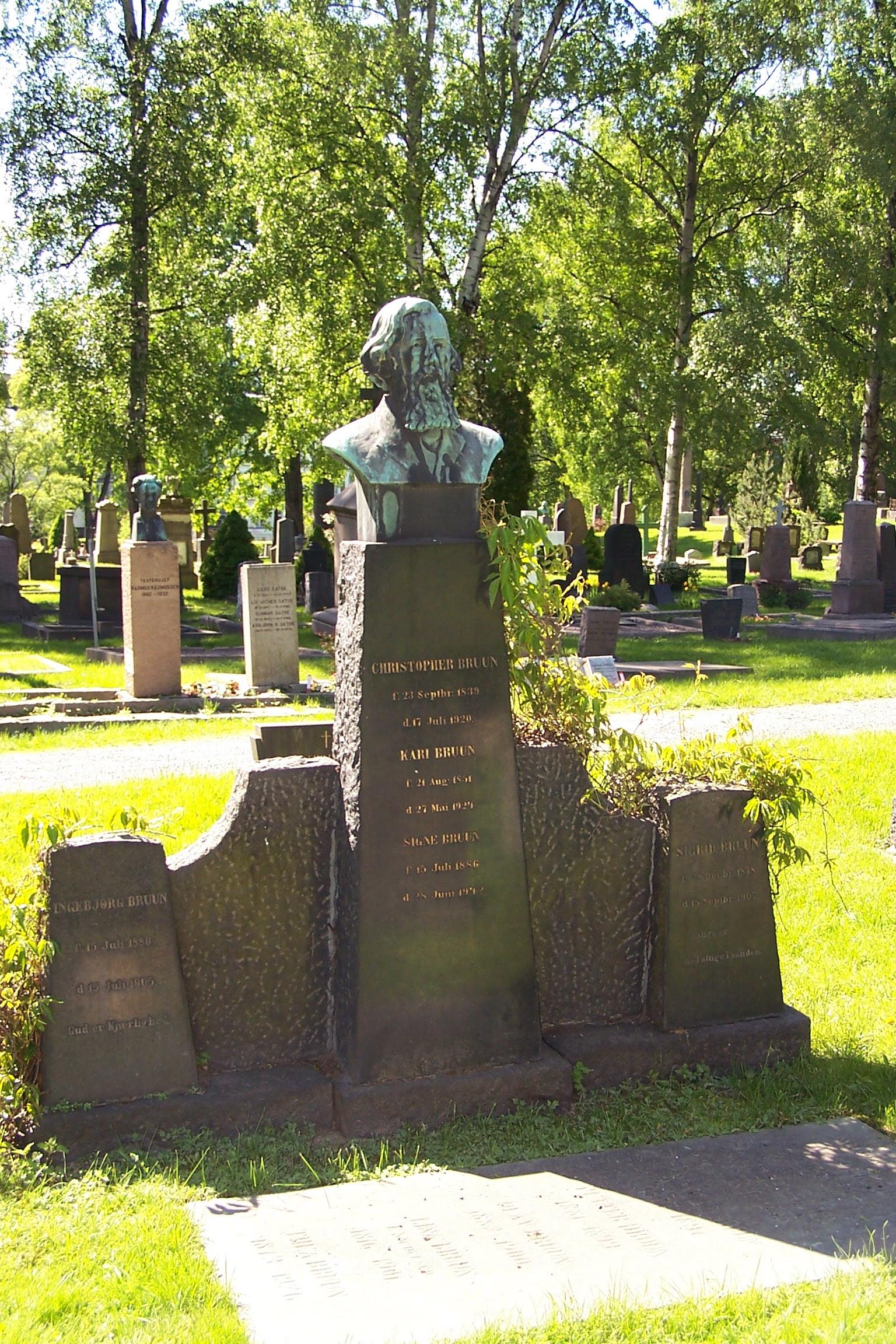 Chris Nyborg: Tomb of Christopher Arnt Bruun at Vår Frelsers gravlund, Oslo