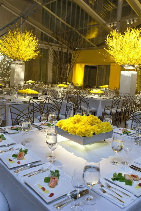 Wow. Yellow done right. Those chairs! Square tables. The