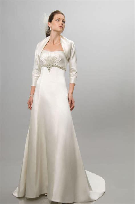 satin empire  strapless wedding dress  jacket uk