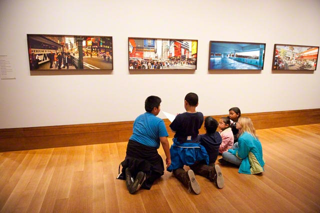 Students from Palms Elementary in the photography galleries at the Getty Center