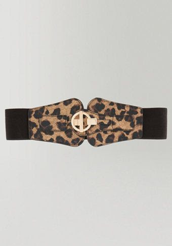 Bebe Leopard Print Stretch Belt