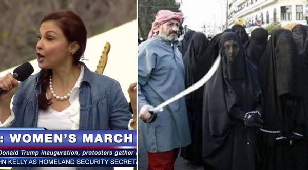 """Mientras en la Marcha de las Mujeres de Washington DC la actriz Ashley Judd denunciaba que """"los tampones están grabados mientras que el Viagra y el Rogaine no"""", miles de muchachas y mujeres yazidíes estaban siendo sometidas a esclavitud sexual en Irak y Siria por parte del Estado Islámico."""