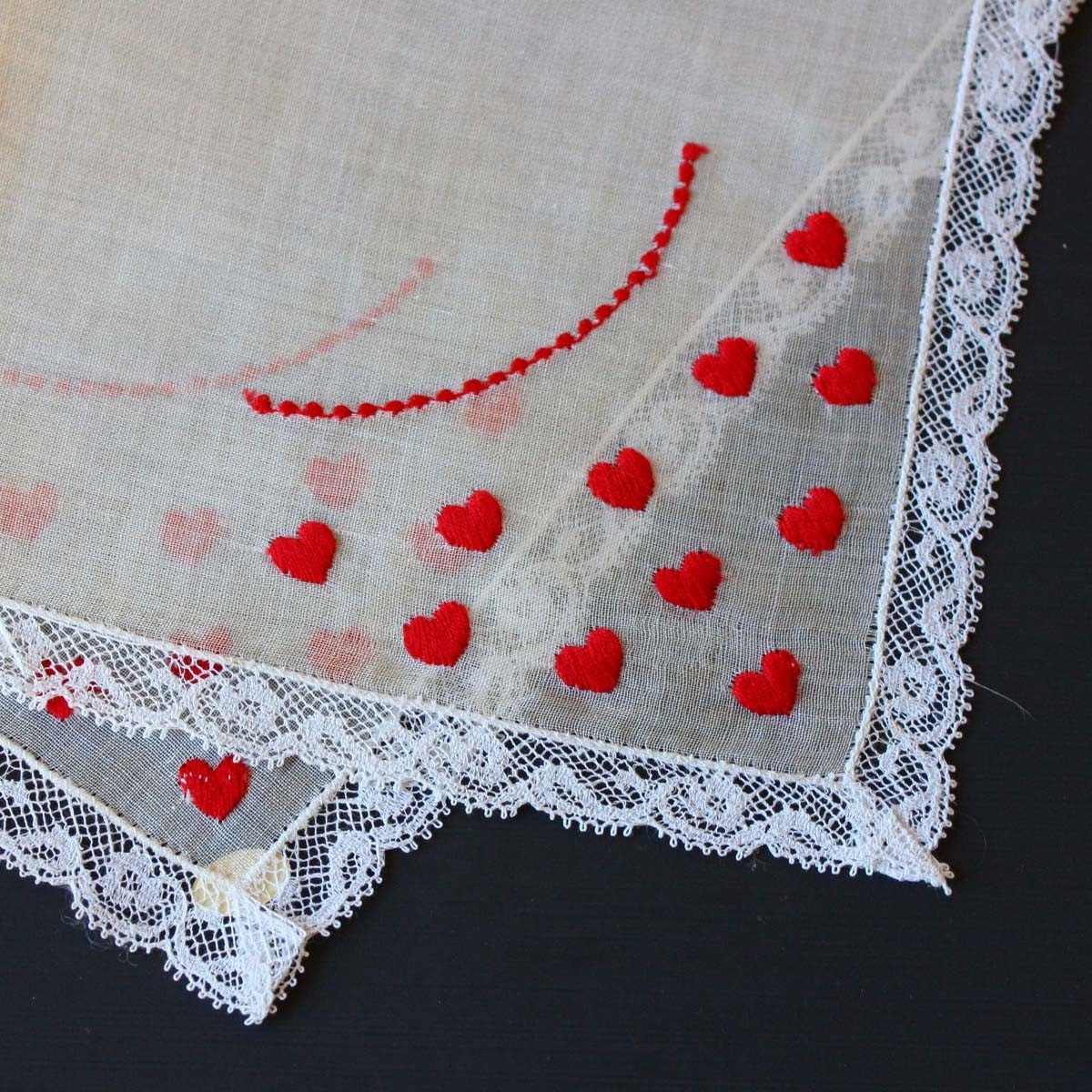Vintage Handkerchief with Embroidered Hearts - backstashandbygones