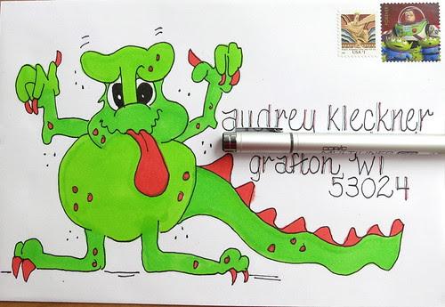 Halloween monster envelope to Audrey