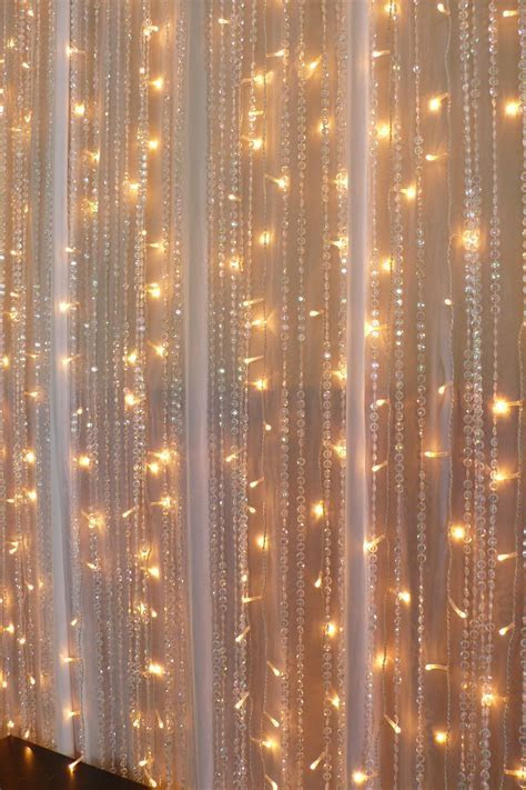 Chiffon, fairy lights, Beaded crystal curtains   Real
