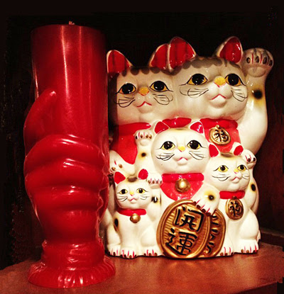 5-Cat-Maneko-Neki-Family-and-Red-Master-Candle-at-the-Lucky-Mojo-Curio-Company