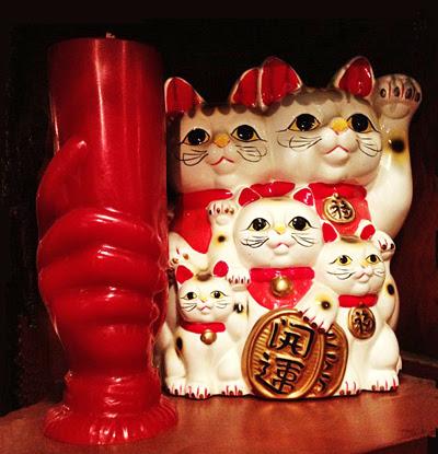 5-Cat-Maneko-Neki-Family-and-Red-Master-Candle-at-the-Lucky-Mojo-Curio-Company