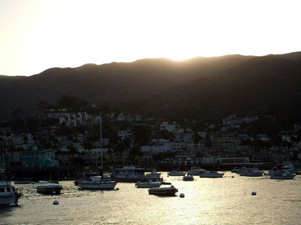 The Sun sets over Avalon Bay at Catalina Island, on October 4, 2013.