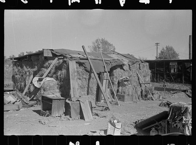 House built of bales of hay, Lexington, Nebraska