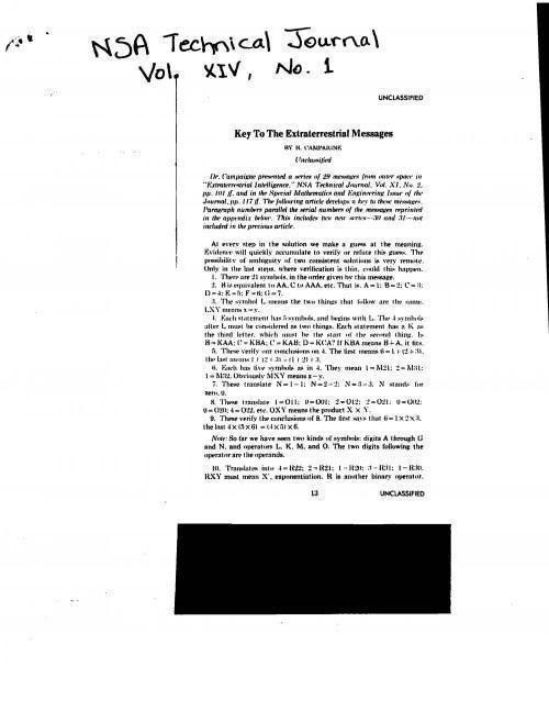 Documento de la NSA «Key To Extraterrestrial Messages»