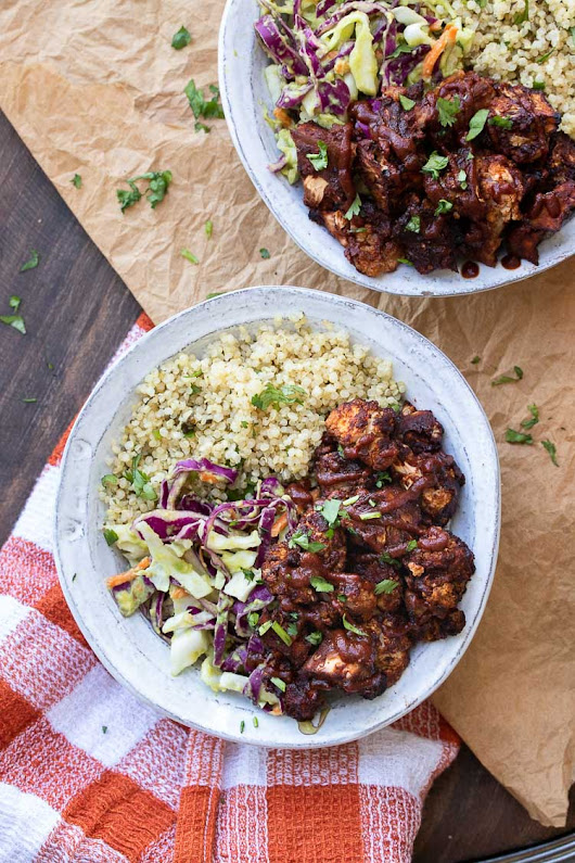 BBQ Cauliflower Bites Bowl with Tangy Avocado Slaw - Veggies Don't Bite