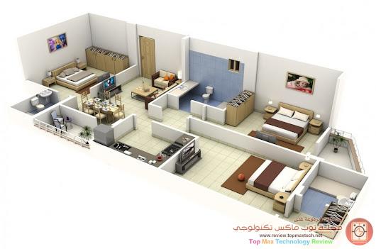 مخططات شقق معاصرة في الشقة 3 ثلاث #غرف نوم بحماماتها تخطيط متميز