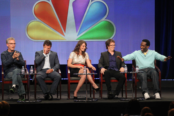 Nick Lachey (L-R) Executive Producer Joel Gallen, host Nick Lachey and judges Sara Bareilles, Ben Folds and Sean Stockman speak during 'The Sing-Off' panel during the NBC Universal portion of the 2011 Summer TCA Tour held at the Beverly Hilton Hotel on August 1, 2011 in Beverly Hills, California.