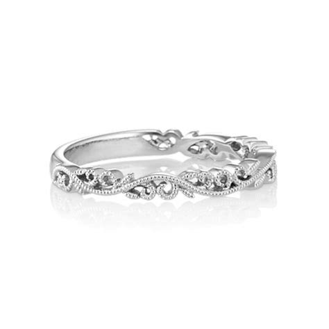 14k White Gold Vintage Wedding Band   Shane Co.