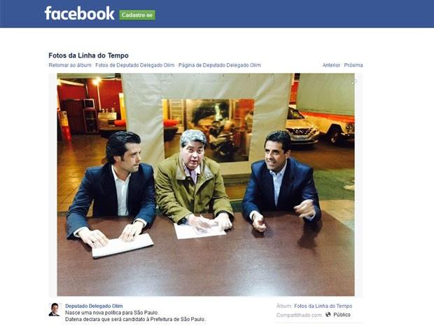 Datena entre Guilherme Mussi (à esq.) e Antonio de Olim (Foto: Reprodução/Facebook)