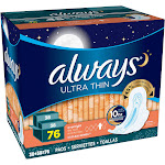 Always Ultra Thin Overnight Pads with Wings, Size 4 - 76 count