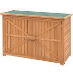 Double Doors Fir Wood Garden Yard Outdoor Storage Cabinet