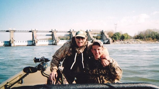 Peter Kassig fishing with his father, Ed Kassig, near the Cannelton Dam on the Ohio River in Indiana - 2011
