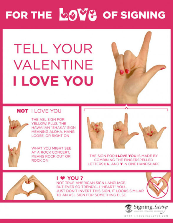 Tell your Valentine I Love You in American Sign Language (ASL) : Valentine's Day Tips: Impress Your Partner Decently
