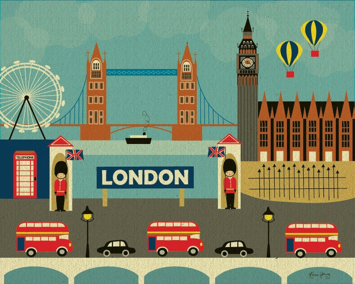 London, England Collage of City Landmarks -  Art Poster Print  for Home, Office, and Nursery BRAND NEW
