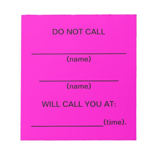Do Not Call Reminder Notes (Pink)