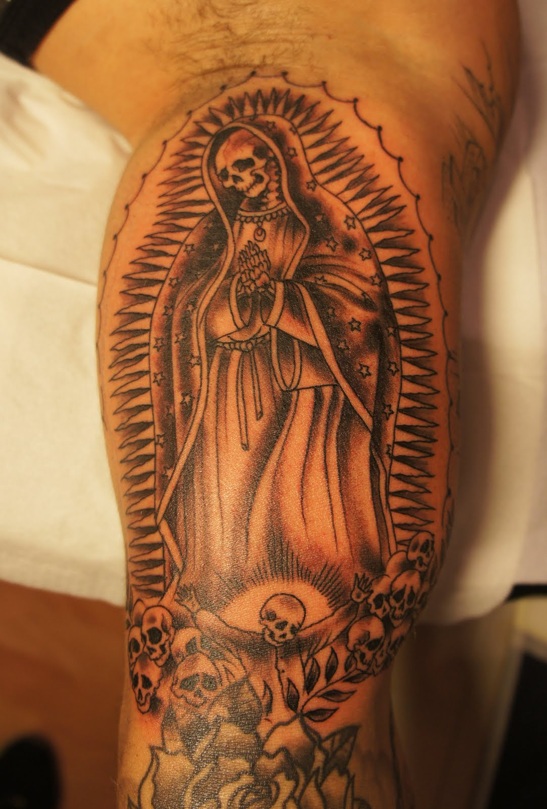 Skull Virgin Mary Arm Tattoo Design For Men Religious Tattoos