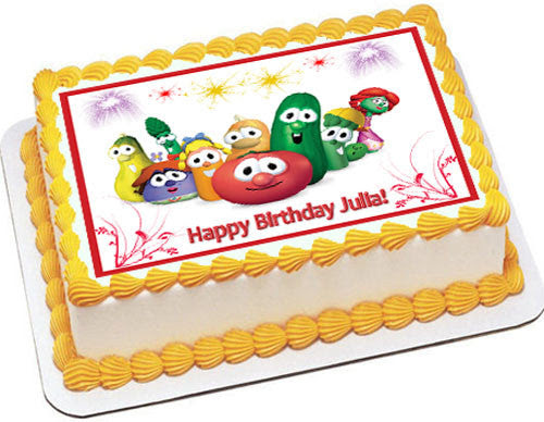 VEGGIE TALES Characters 6 Edible Cake OR Cupcake Topper – Edible Prints On Cake (EPoC)