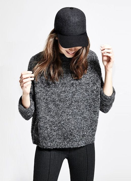 Le Fashion Blog Grey On Grey Fall Style Dark Grey Baseball Hat Marled Sweater Chalk Pin Stripe Pants Via Mango