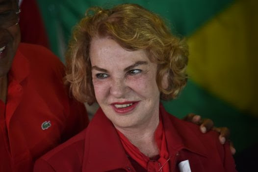 (FILES) This file photo taken on October 02, 2016 shows the wife of Brazilian former president Luiz Inacio Lula da Silva, Marisa Leticia, at a polling station during the municipal elections' first round in Sao Bernardo do Campo, 25 km south of Sao Paulo, Brazil, on October 2, 2016. Marisa Leticia suffered a brain hemorrhage on January 24, 2017 and was hospitalized in Sao Paulo. / AFP PHOTO / NELSON ALMEIDA