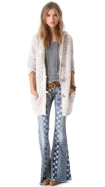 Free People Stripe Bali Flare Jeans