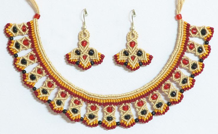 Beige, Red and Yellow Macrame Necklace and Earrings with Black and Red Beads (Thread))