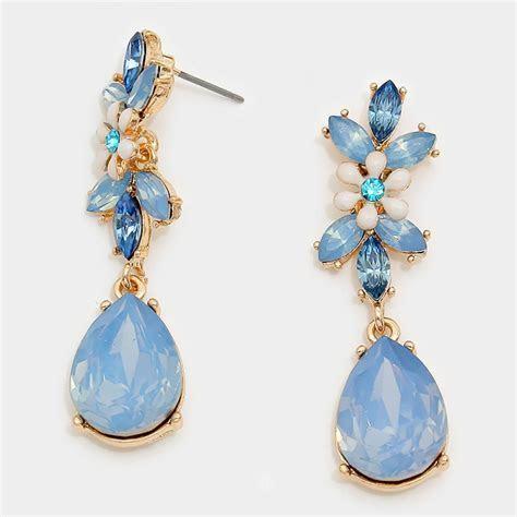 Opal Blue Periwinkle Teardrop Floral Crytal Stone