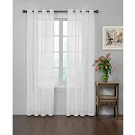 """CURTAIN FRESH Arm and Hammer Odor Neutralizing Sheer Voile Window Curtains for Bedroom or Living Room (Single Panel), 59"""" x 120"""", White"""