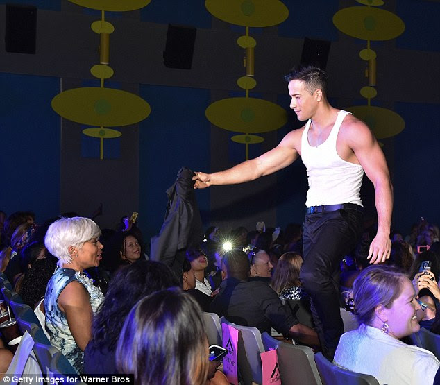 Get your coat, you've pulled: The ladies in Atlanta were treated to a real life strip show before the movie began