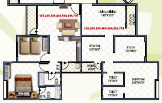 "2 BHK Flat - 23.44 to 27.23 Lakhs - 574.9 Carpet (including balcony) - Living cum Dining - 14'6"" x 10' + Kitchen - 10'6"" x 8'6"" + Bedroom - 10' x 12' + Study - 10' x 8'6""  - Namrata Eco City, 1 BHK & 2 BHK Economical Flats, Varale Road, Talegaon, Pune"