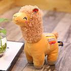 Becol 11 Inches Alpaca Plush Toy, Cartoon Fabric Llama Stitch Stuffed Doll Soft Animal Toys Birthday Gift Toys (Brown)
