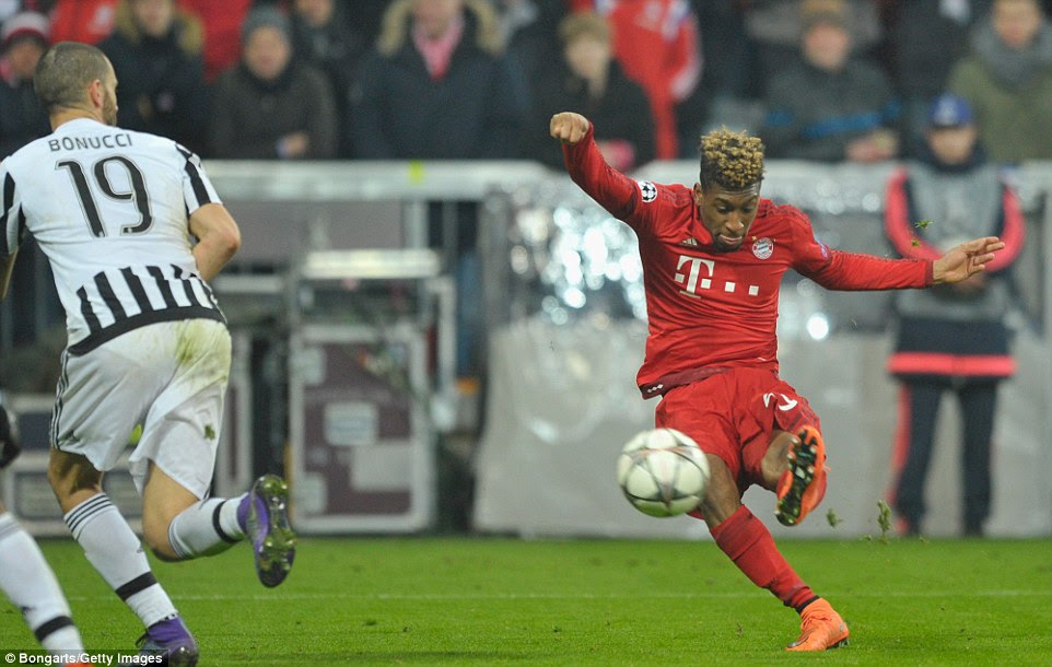 Bayern winger Kingsley Coman - on loan from Juventus - bends his boot around the ball to curl it into the net and confirm the win