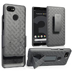 Google Pixel 3 Case with Clip, Nakedcellphone Black Kickstand Cover with [Rotating/Ratchet] Belt Hip Holster Combo for Google Pixel 3 (2018)