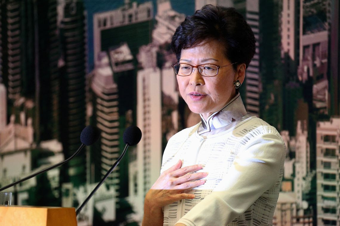 Hong Kong Chief Executive Carrie Lam looks down during a news conference in Hong Kong, China, June 15, 2019. REUTERS/Athit Perawongmetha
