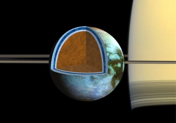 Using data provided by NASA's Cassini spacecraft, this illustration depicts the possible interior of Saturn's moon Titan.