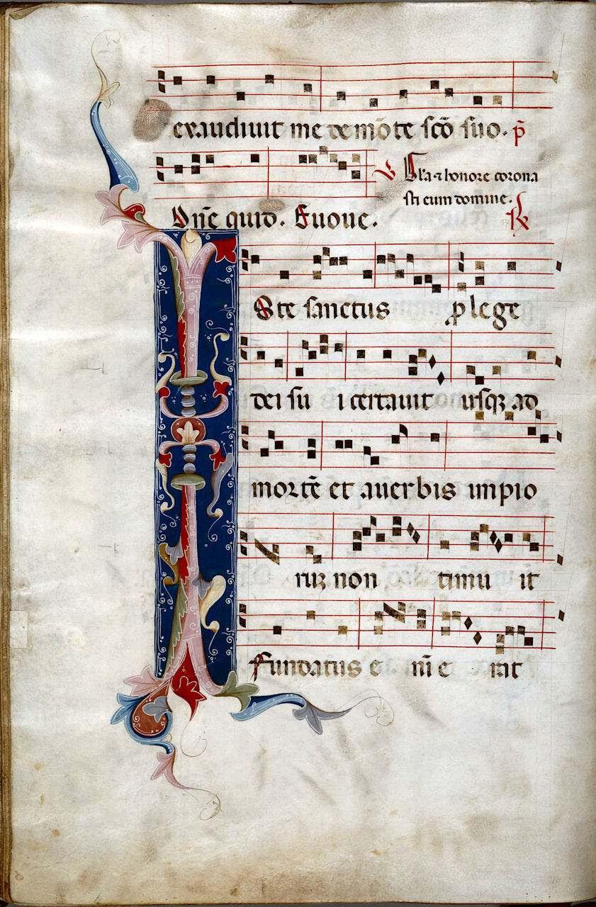 Partitura iluminada de Iste Sanctus. Music Library MS0797