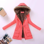 FTLZZ New Autumn Winter Women Jacket Cotton Padded Casual Slim Coat Emboridery Hooded Parkas Plus Size 3xl Wadded Overcoat watermelon red / M
